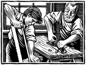 Wood cut print of woodworkers